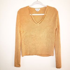 St. John Sport by Marie Gray Ribbed Wool Blend Cut Out Top